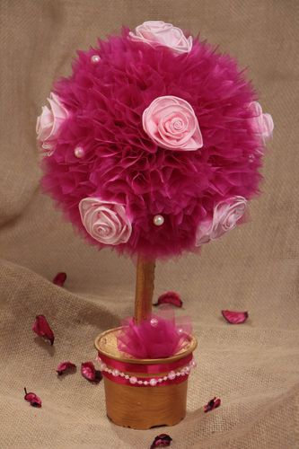 Handmade small decorative topiary tree with organza and flowers in pink color - MADEheart.com
