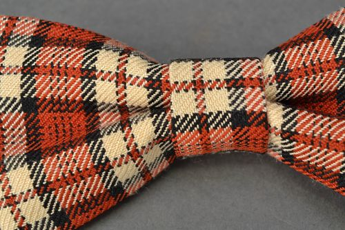 Brown checkered fabric bow tie  - MADEheart.com