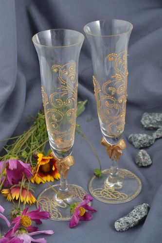 Handmade glasses for champagne beautiful stylish ware unusual cute glasses - MADEheart.com