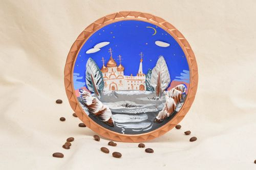 Handmade decorative ceramic plate ornamented clay plate living room design - MADEheart.com