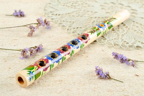 Handmade beautiful penny whistle interesting accessories wooden cute home decor - MADEheart.com