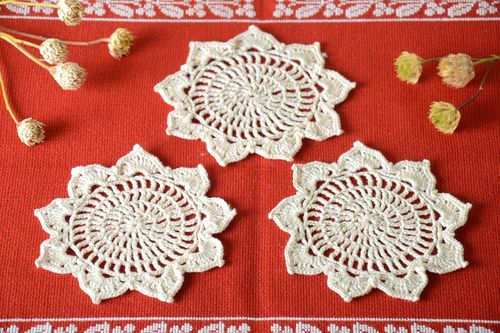 Handmade openwork napkins crochet napkins kitchen napkin home decor idea - MADEheart.com
