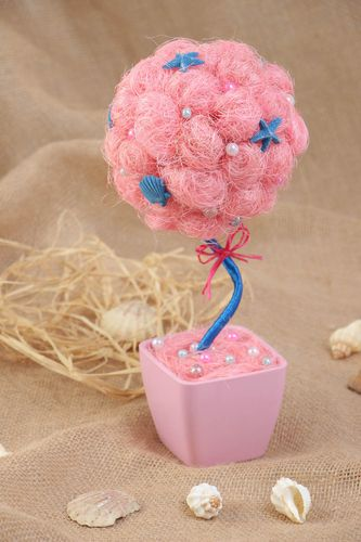 Handmade sisal pink topiary with shells and beads small size home interior decor - MADEheart.com