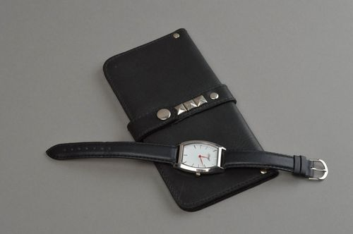 Handmade leather wallet stylish black purse unusual designer accessories - MADEheart.com