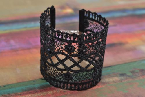 Beautiful designer womens black lace bracelet evening jewelry - MADEheart.com