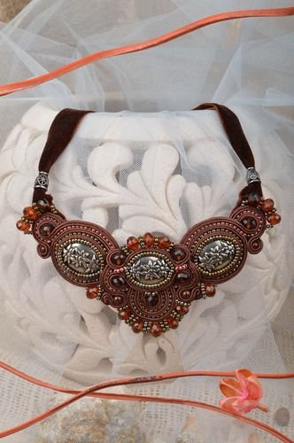 Beautiful womens handmade designer evening soutache necklace with beads - MADEheart.com