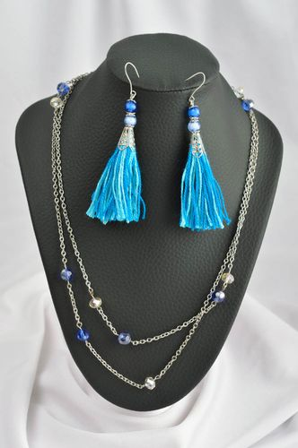 Unusual handmade metal necklace with beads textile tassel earrings gifts for her - MADEheart.com