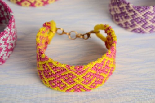 Pink and yellow handmade bright wide bracelet woven of embroidery floss - MADEheart.com