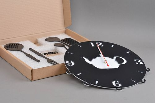 Unusual handmade clock stylish kitchen decor beautiful clock with kettle - MADEheart.com