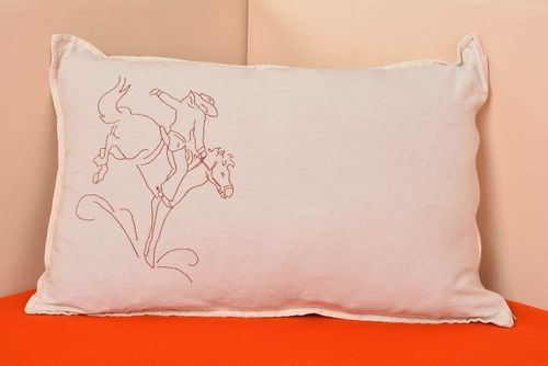 Handmade decorative light semi linen pillow case with embroidered cowboy - MADEheart.com