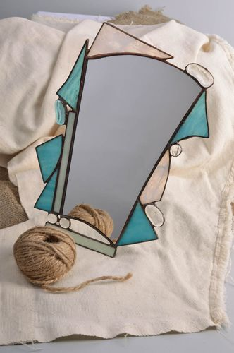 Handmade small table mirror of unusual shape in stained glass frame - MADEheart.com