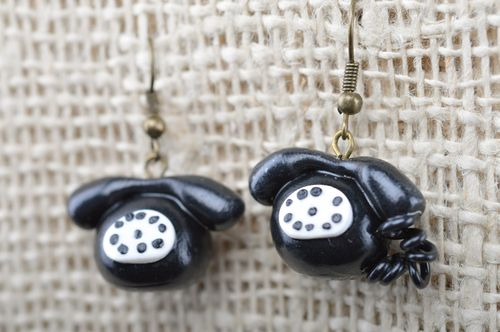 Black and white handmade plastic dangle earrings with charms in the shape of phones - MADEheart.com