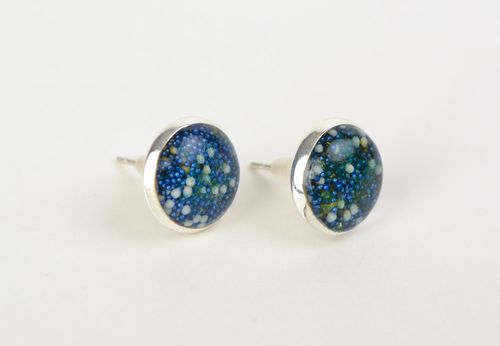 Blue round handmade earrings with spangles coated with jewelry glaze for every day - MADEheart.com