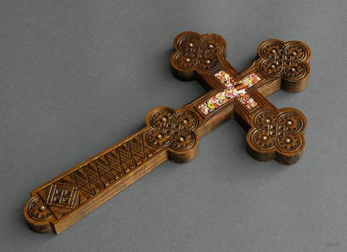 Big wooden inlaid cross - MADEheart.com