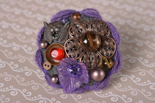 Unusual handmade textile brooch pin handmade accessories for girls gift ideas - MADEheart.com