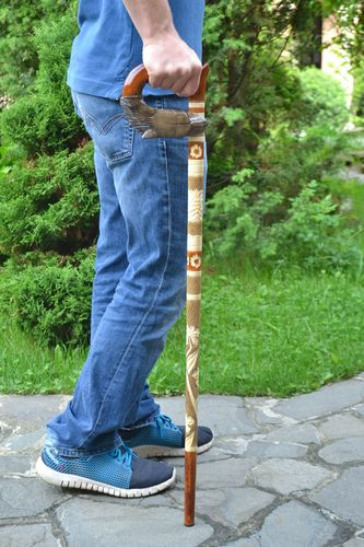Handmade stylish wooden support cane designer beautiful men accessory Wolf - MADEheart.com