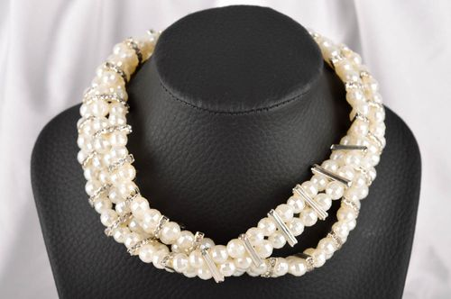 White necklace beautiful designer neck accessory handmade present for women - MADEheart.com