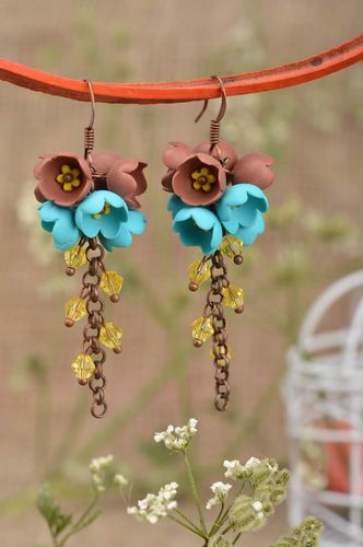 Beautiful homemade plastic earrings flower earrings on chains gifts for her - MADEheart.com