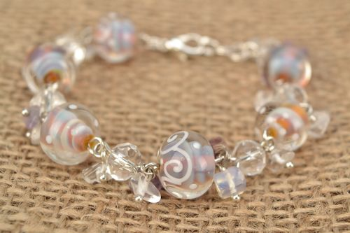 Bracelet with lampwork glass beads Jellyfish - MADEheart.com