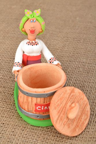 Ceramic salt cellar Cossack Woman - MADEheart.com