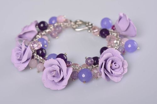 Handmade gentle lilac polymer clay flower bracelet with beads for women - MADEheart.com