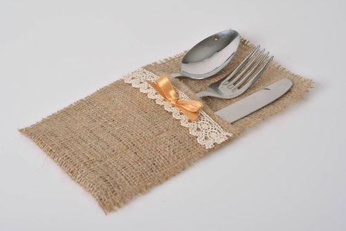 Case for cutlery made of burlap with lace designer accessory for kitchen - MADEheart.com