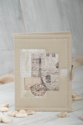 Handmade beige notebook writing pad with textile cover unusual designer notebook - MADEheart.com