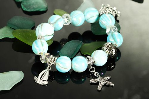 Handmade summer bracelet with charms handmade jewelry stylish accessories - MADEheart.com