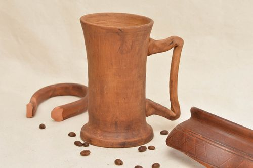 Ceramic mug made of red clay interesting kitchen utensils stylish home decor - MADEheart.com