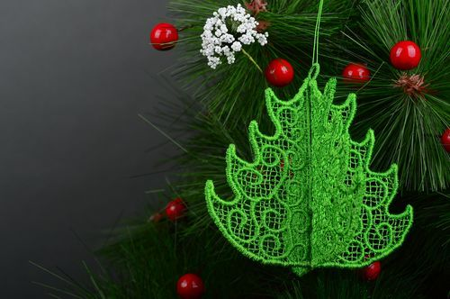 Lace Christmas tree toys handmade openwork toys home decor decorative use only - MADEheart.com