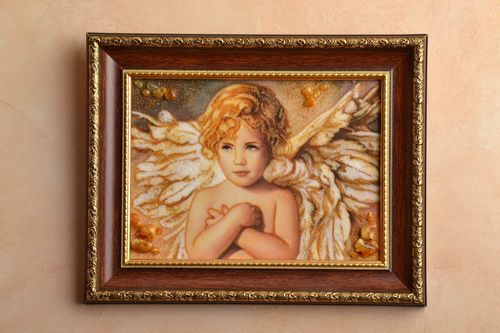 Amber decorated picture with image of angel - MADEheart.com