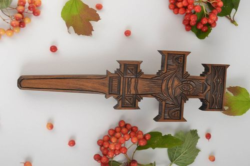 Handmade carved crucifix designer wooden cross interior wall decoration - MADEheart.com