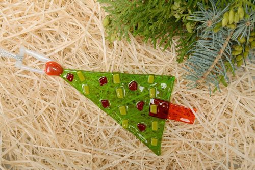 New Years decoration Christmas tree glass fusing - MADEheart.com