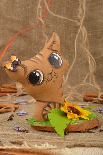 Handmade cotton fabric soft toy with vanilla aroma brown kitten with big eyes - MADEheart.com