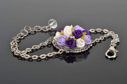 Elegant metal bracelet with polymer clay flowers - MADEheart.com
