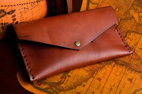 Stylish handmade leather wallet leather goods fashion accessories for men - MADEheart.com