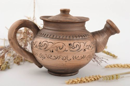 Handmade decorative ceramic ornamented teapot processed with silver 500 ml - MADEheart.com