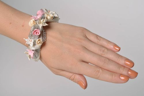 Beautiful handmade polymer clay bracelet with flowers and ribbons - MADEheart.com