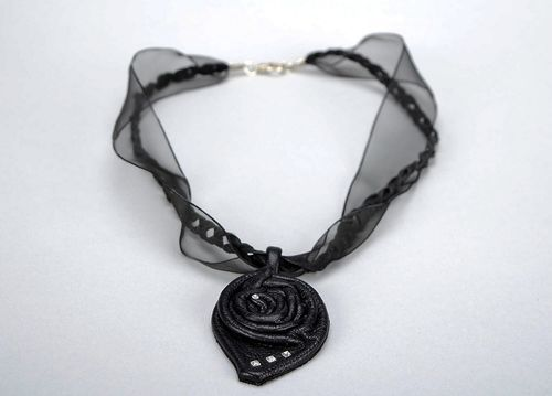 Natural leather pendant Black rose - MADEheart.com