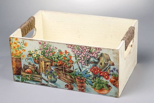 Box for needlework, made of wood, Still-life, decoupage - MADEheart.com