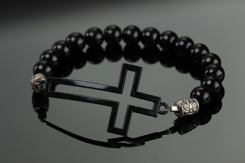 Handmade wrist bracelet with beads of artificial stone and cross for girls - MADEheart.com