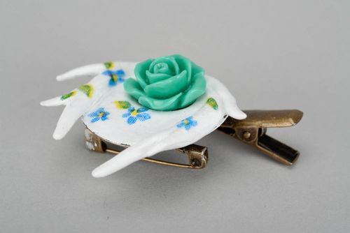 Brooch-hairpin made of polymer clay - MADEheart.com