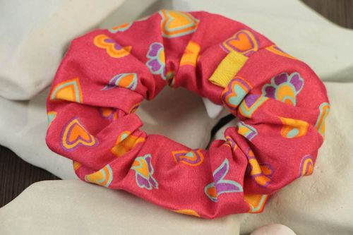 Handmade decorative bright colorful fabric hair tie with hearts pattern - MADEheart.com