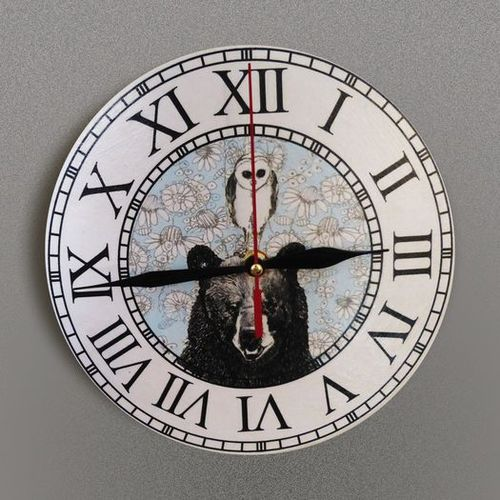 Handmade decoupage wall clock of round shape with Roman numbers Bear and Owl - MADEheart.com