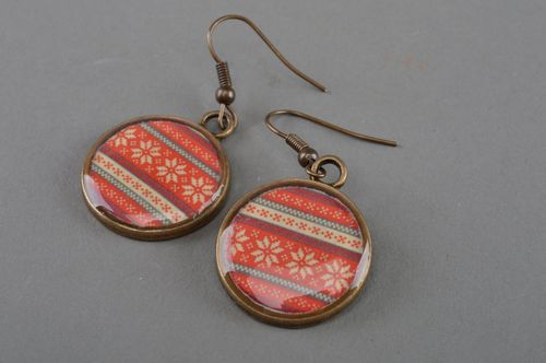 Beautiful handmade round shaped decoupage earrings with ethnic ornament - MADEheart.com