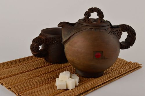 Handmade beautiful teapot unusual clay kitchenware designer ceramic teapot - MADEheart.com