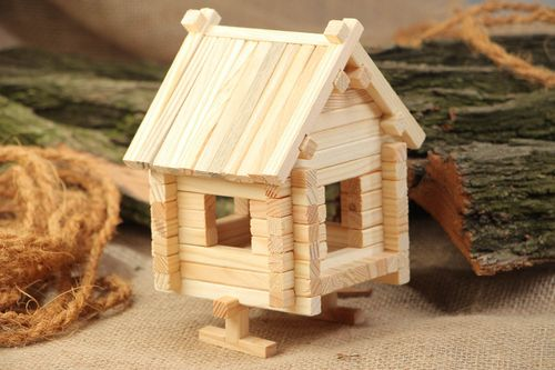 Handmade wooden toy meccano House 81 pieces eco friendly interesting toy - MADEheart.com