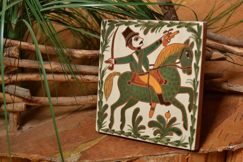 Handmade decorative clay tile painted with engobes beautiful square wall panel - MADEheart.com