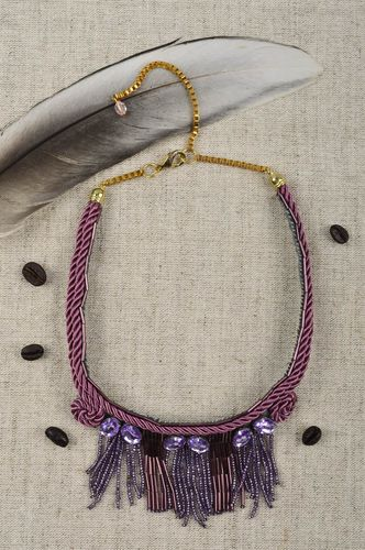 Handmade massive necklace unusual beaded jewelry lilac beautiful necklace - MADEheart.com