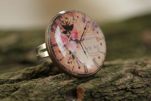 Handmade designer round metal and glass glaze jewelry ring with clock image - MADEheart.com